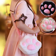 Load image into Gallery viewer, Black/White Neko Cat Paw Plush Cross-body Bag SP166146