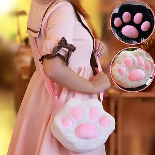 Black/White Neko Cat Paw Plush Cross-body Bag SP166146