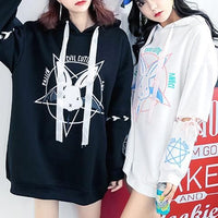 Black/White Pastel Demon Bunny Long Hoodie Jumper SP1811641