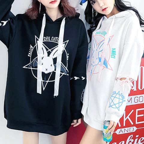 Black/White Pastel Demon Bunny Long Hoodie Jumper SP1710642