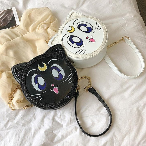 Black/White Sailor Moon Paillette Cross Body Bag SP14020