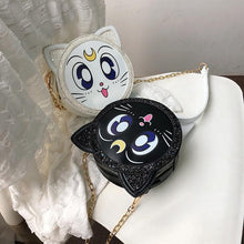 Load image into Gallery viewer, Black/White Sailor Moon Paillette Cross Body Bag SP14020