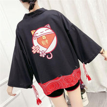 Load image into Gallery viewer, Black/White Sakura Lucky Cat Tassel Kimono Coat SP14269
