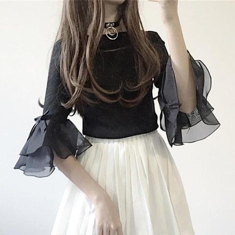 Black/White Sweet Bow Falbala Sweater SP13830