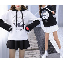 Load image into Gallery viewer, Black/White You And Me Girl Hoodie Jumper SP1711262