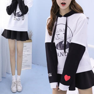 Black/White You And Me Girl Hoodie Jumper SP1711262