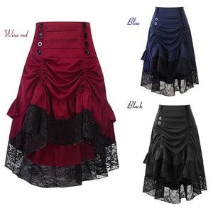 Black/Wine/Blue Sweet Streampunk Victorian Lace Pleated Skirt SP13845