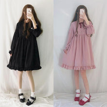 Load image into Gallery viewer, Black/Wine/Pink Sweet Lantern Sleeve Lolita Dress S12886