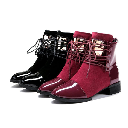 Black/Wine PU Velvet Laced Martin Boots SP14114