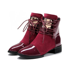 Load image into Gallery viewer, Black/Wine PU Velvet Laced Martin Boots SP14114