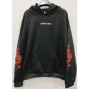 Black ALMOST DEAD Rose Pattern Hoodie Jumper SP13552