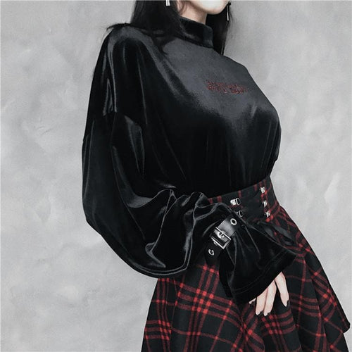 Black Back To Hell Where I Belong Gothic Velvet Shirt S13027