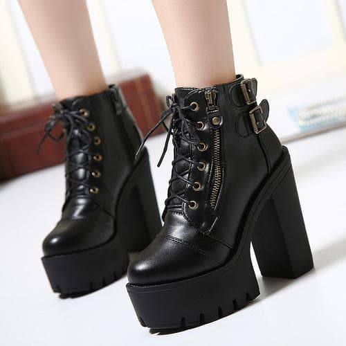 Black Elegant Laced Zipper High Heel Boots SP13283