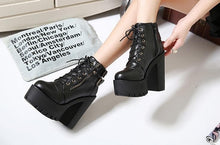 Load image into Gallery viewer, Black Elegant Laced Zipper High Heel Boots SP13283