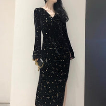 Load image into Gallery viewer, Black Fairy Galaxy Long Dress SP13455