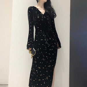 Black Fairy Galaxy Long Dress SP13455