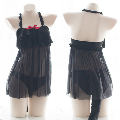 Black Falbala Bow Cat Tail Lingerie Set SP13565