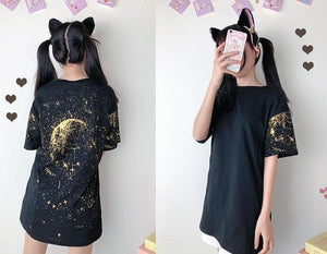 Black Galaxy Starry Tee Shirt S12780