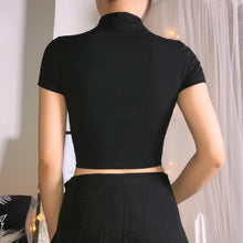 Load image into Gallery viewer, Black Gothic Belt Crop Top SP13987