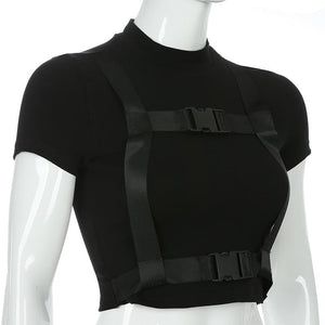 Black Gothic Belt Crop Top SP13987