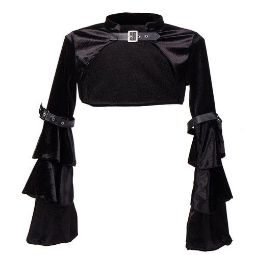 Black Gothic Choker Long Sleeve Top SP13911