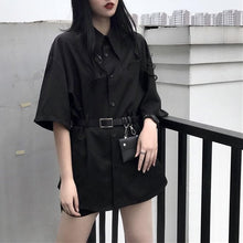 Load image into Gallery viewer, Black Gothic Harajuku Belt Blouse SP13849