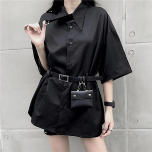 Black Gothic Harajuku Belt Blouse SP13849