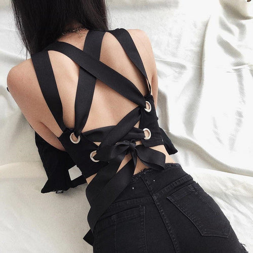 Black Gothic Laced Back Crop Top SP13828
