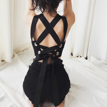 Load image into Gallery viewer, Black Gothic Laced Back Crop Top SP13828