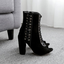 Load image into Gallery viewer, Black Gothic Laced High Heels Boots SP14149