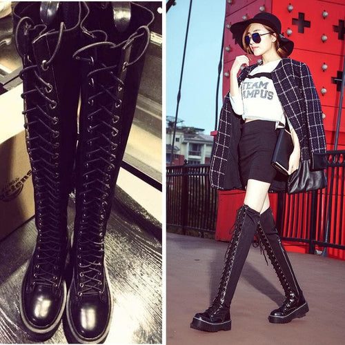 Black Gothic Laced Zipper High Boots SP14174