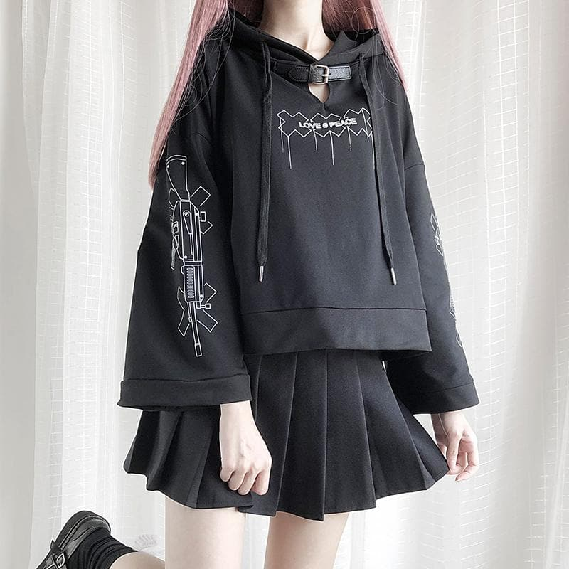 Black Gothic Love & Peace Hoodie Jumper SP14383