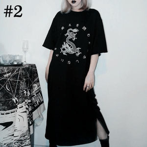 Black Gothic Moon Embroidery Dress SP13916