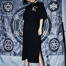 Load image into Gallery viewer, Black Gothic Moon Embroidery Dress SP13916