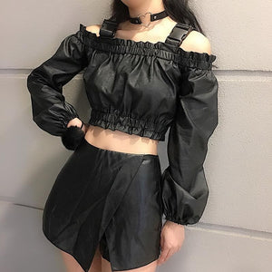 Black Gothic Off-Sholder PU Short Top SP13354