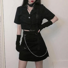 Load image into Gallery viewer, Black Gothic Short Shirt/Skirt Set SP14198 - SpreePicky FreeShipping