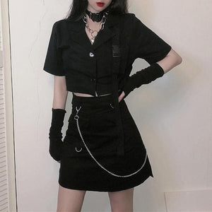 Black Gothic Short Shirt/Skirt Set SP14198