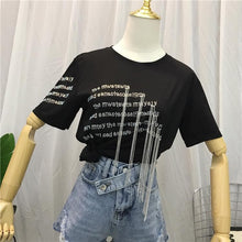 Load image into Gallery viewer, Black Gothic Tassel Tee Shirt SP13864