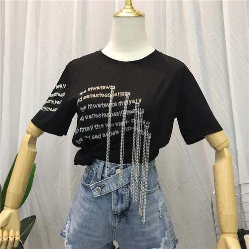 Black Gothic Tassel Tee Shirt SP13864