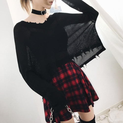 Black Gothic Thin Kintting Sweater SP13443