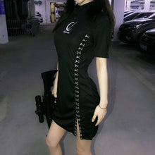 Load image into Gallery viewer, Black Gothic Tokyo Girl Laced Cheongsam Dress SP13917