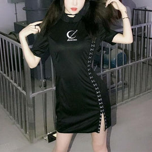 Black Gothic Tokyo Girl Laced Cheongsam Dress SP13917