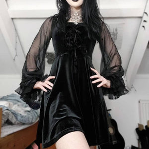 Black Gothic Tulle Velvet Dress SP14292