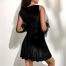 Load image into Gallery viewer, Black Gothic Tulle Velvet Dress SP14292