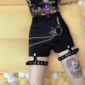 Black Gothic Vintage Leg Ring Shorts SP14011