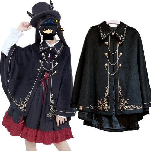 Black Harajuku Embroidery Chain Cape Coat S12898