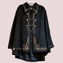 Load image into Gallery viewer, Black Harajuku Embroidery Chain Cape Coat S12898