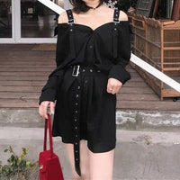Black Harajuku Gothic Off Shoulder Shirt Dress S13165