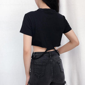 Black I AM HOTTY Crop Top SP13986