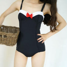 Load image into Gallery viewer, Black Kawaii Bow Swimsuit SP13747